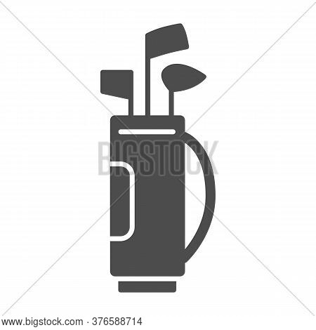 Stick Bag Solid Icon, Golf Concept, Golf Clubs In Bag Sign On White Background, Bag For Golf Clubs I