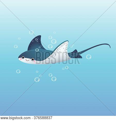 Vector Illustration Cute Cartoon Stingray Swimming In The Deep Blue Sea.