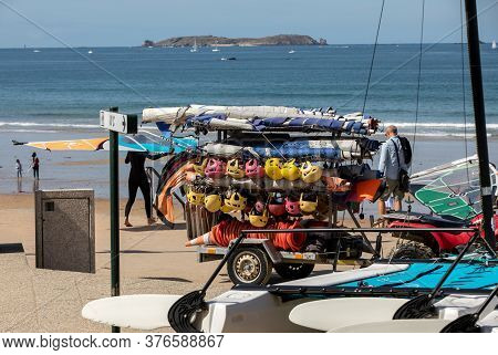 Saint-malo, France - September 15, 2018:  Helmets And Surf Boards At The School Of Surf In Saint Mal