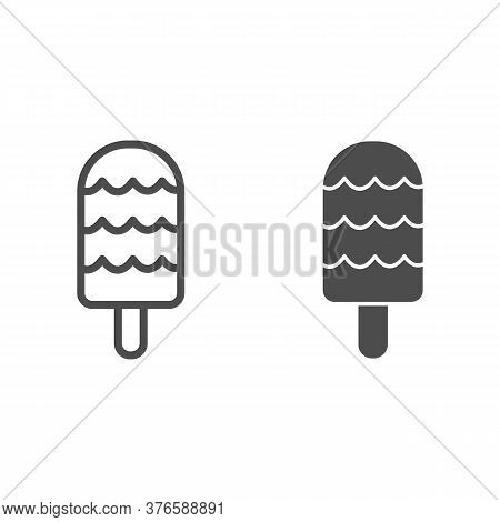Fruit Ice Cream Line And Solid Icon, Dessert Concept, Ice-cream Sign On White Background, Icecream I