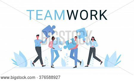 Puzzle Teamwork. Business Concept. Team Metaphor. People Connecting Puzzle Elements. Vector Illustra