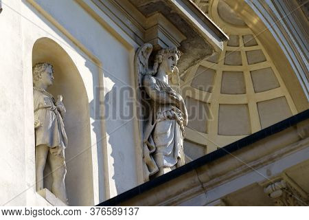 Gorgonzola, Milan,  Lombardy, Italy: Statues On Facade Of The Saints Gervaso And Protaso Church