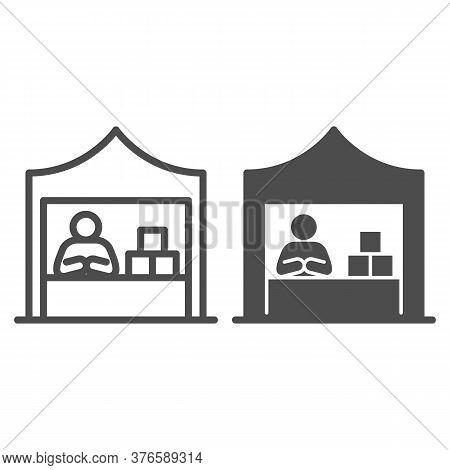 Kiosk With Seller And Goods Line And Solid Icon, Commerce Concept, Marketplace Tent With Seller Sign