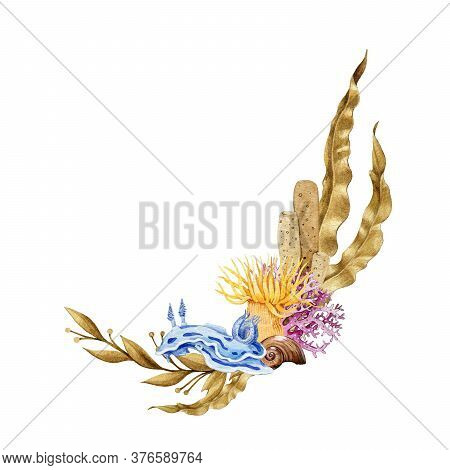Bright Corals And Coral Reef Life Arrangement. Hand Drawn Watercolor Illustration Of Sea Animals. Se