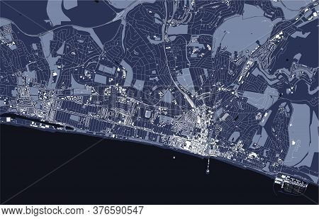 Map Of The City Of Brighton And Hove, England, Uk