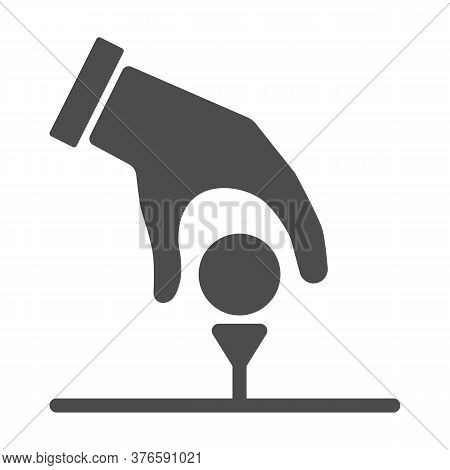 Golfer Hand Put Ball On Tee Solid Icon, Golf Concept, Hand With Ball Sign On White Background, Hand