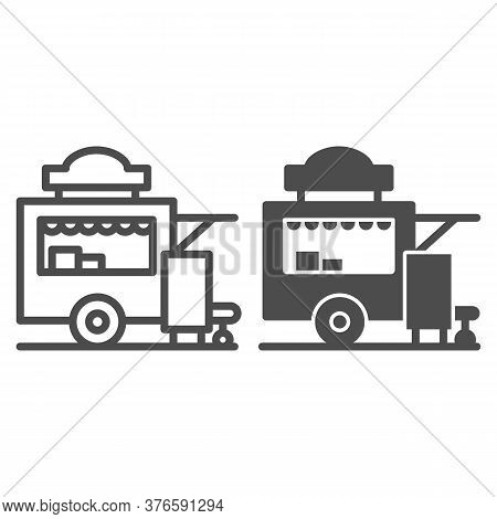 Trailer Kiosk Line And Solid Icon, Street Food Concept, Street Kiosk Sign On White Background, Food