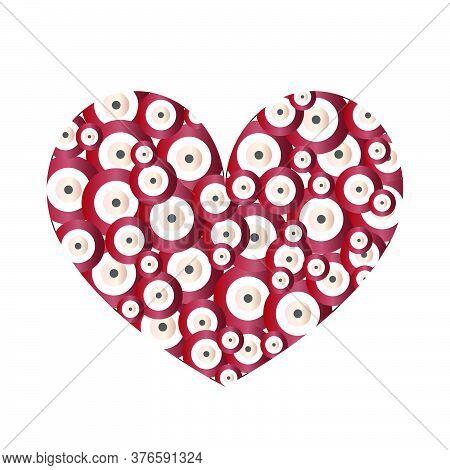 Heart With Dark Red Evil Eyes Vector - Evil Eye Card - Love Card