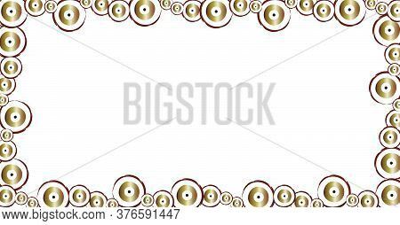 Horizontal Banner With Brown Evil Eyes Vector - Empty White Space At The Center