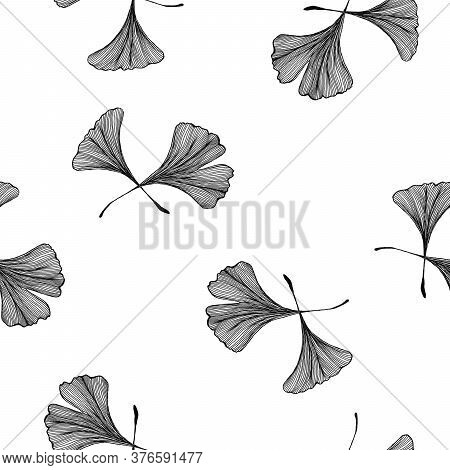 Vintage Ginkgo Biloba Seamless Pattern, Hand Drawn Line Art Illustration With Ginkgo Leaves For Wrap