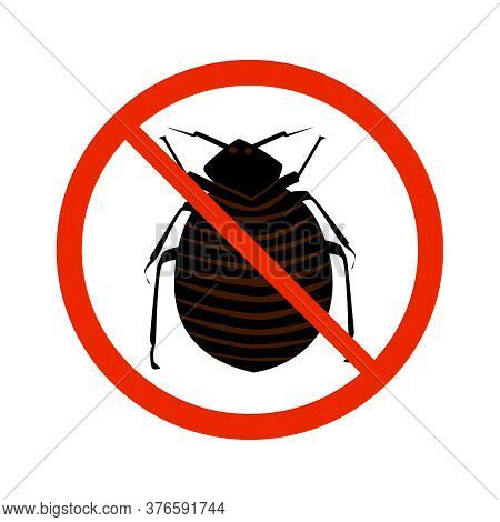 Flea Sign Isolated On White Background. Black Ant Silhouette Crossed In Red Circle. Pest Control Sig