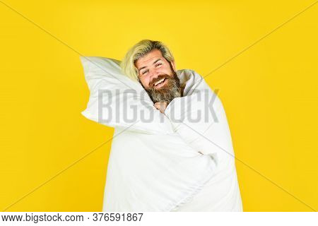 Fall Asleep On Go. Melatonin Makes You Feel Drowsy And Helps You Stay Asleep. Man Handsome Guy With