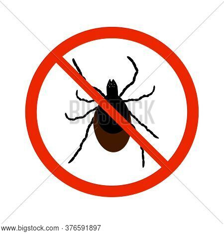 Mite Sign Isolated On White Background. Black Ant Silhouette Crossed In Red Circle. Pest Control Sig