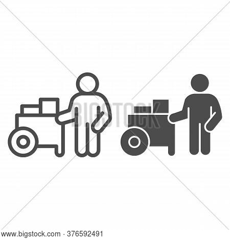 Person With Street Cart Line And Solid Icon, Street Food Concept, Hot Dog Shop And Salesman Sign On