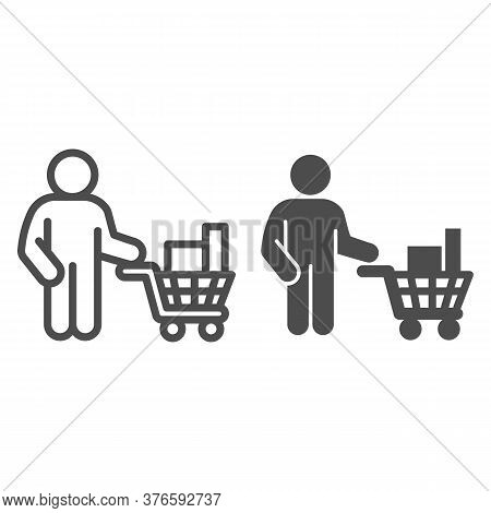 Buyer With Trolley Of Goods Line And Solid Icon, Market Concept, Man Holding Shopping Cart With Purc