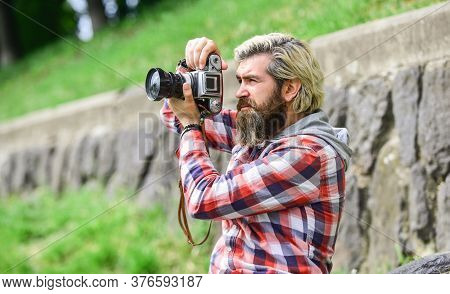 Content Creator. Masterpiece Shot. Man With Beard Shooting Photos. Photographer Concept. Man Bearded