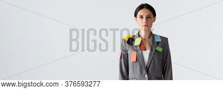 Website Header Of Businesswoman With Labels On Formal Wear Standing Isolated On White, Gender Inequa