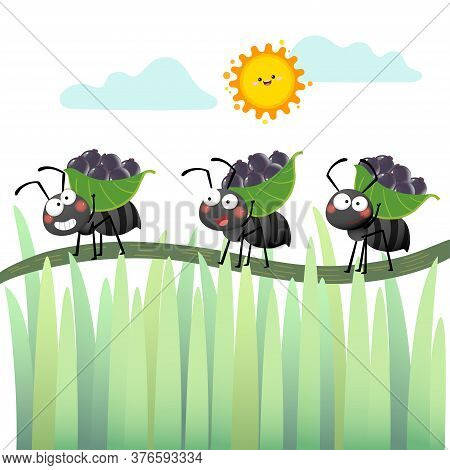 Vector Illustration Of A Cartoon Colony Of Black Ants Carrying Berries And Walking Across The Branch