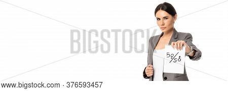 Horizontal Image Of Beautiful Businesswoman Holding Paper With Fifty-fifty Symbols Isolated On White