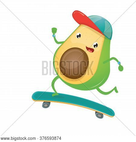 Cartoon Hipster Avocado Skater Character Riding On Skateboard Isolated On White Background. Cute Spo