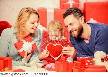 Together On Valentines Day. Lovely Family Celebrating Valentines Day. Happy Parents. Family Celebrat