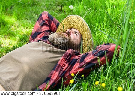 Rest In Countryside. United With Motherland. Nature Is My Home. Farmer Bearded Man Rest After Day Wo