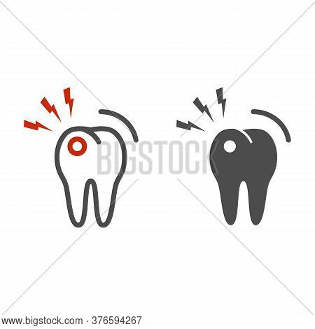 Toothache Line And Solid Icon, Dental Care Concept, Tooth With Lightning Sign On White Background, T