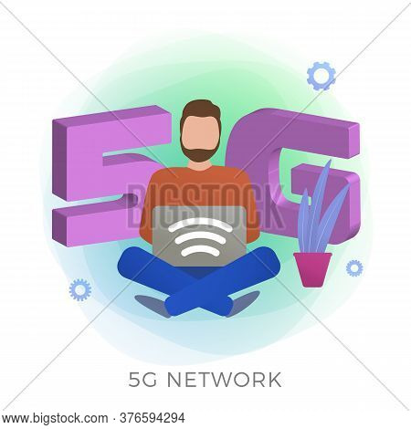 5g Network Technology Flat Vector Icon. New Global High Speed Internet Wireless Systems Concept With
