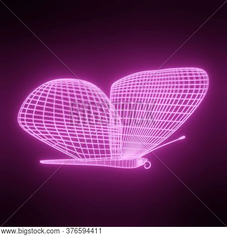 Abstract Neon Polygonal Geometric Butterfly Consisting Of Lines. Wireframe Technology Structure. Glo
