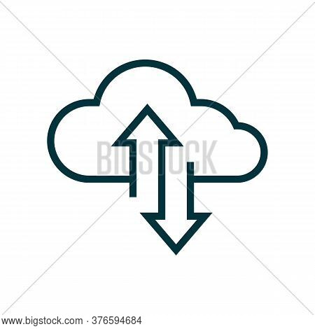 Cloud Transfer Vector Icon. Remote Storage Upload And Download Process Graphic Design. Internet Data