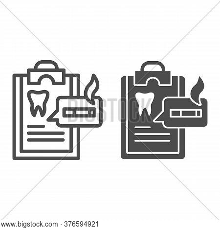 Dentist Questionnaire Line And Solid Icon, Smoking Concept, Harm Of Smoking In Checklist Sign On Whi