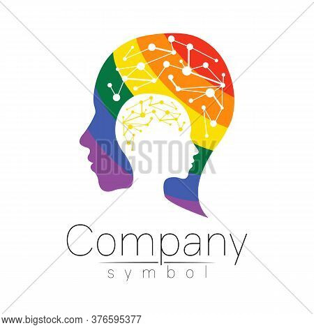 Vector Logotype Symbol Of Human Head. Profile Face Logo. Rainbow Color Isolated On White . Concept S