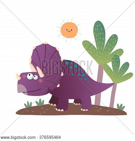 Vector Illustration Of Cartoon Triceratops Dinosaur On White Background.