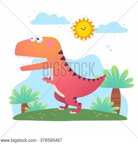 Tyrannosaurus Rex, T-rex, Dinosaur, Animal, Dino, Cartoon, Mascot, Adorable, Kid, Children, Characte