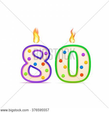 Eighty Years Anniversary, 80 Number Shaped Birthday Candle With Fire On White
