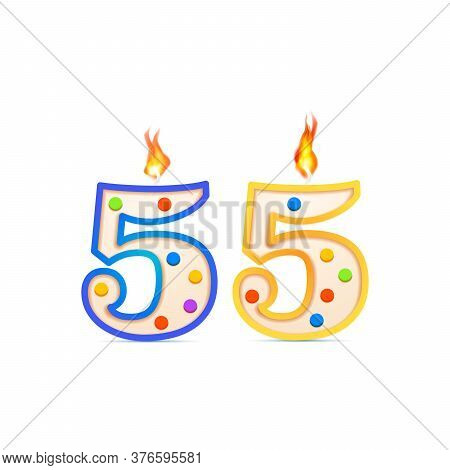 Fifty Five Years Anniversary, 55 Number Shaped Birthday Candle With Fire On White