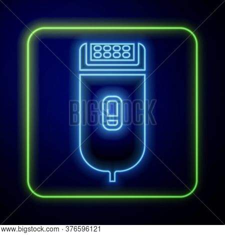 Glowing Neon Electrical Hair Clipper Or Shaver Icon Isolated On Blue Background. Barbershop Symbol.