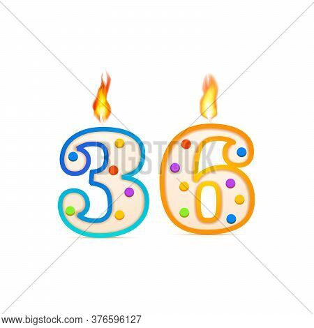 Thirty Six Years Anniversary, 36 Number Shaped Birthday Candle With Fire On White