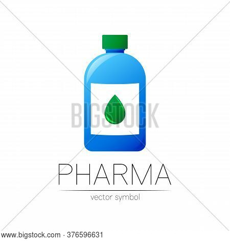 Pharmacy Vector Symbol With Blue Bottle And Green Drop For Pharmacist, Pharma Store, Doctor And Medi