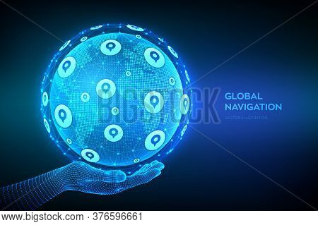 Global Positioning System. Gps Tracking Services. Navigation Concept. Navigate Mapping Technology, L