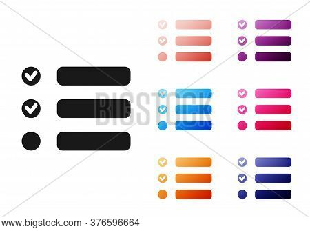 Black Task List Icon Isolated On White Background. Control List Symbol. Survey Poll Or Questionnaire