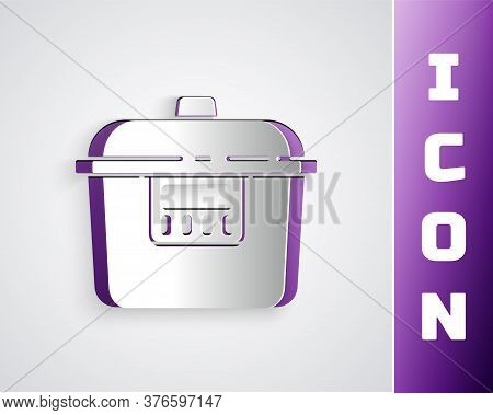 Paper Cut Slow Cooker Icon Isolated On Grey Background. Electric Pan. Paper Art Style. Vector