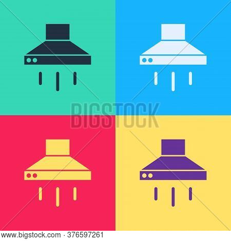 Pop Art Kitchen Extractor Fan Icon Isolated On Color Background. Cooker Hood. Kitchen Exhaust. House