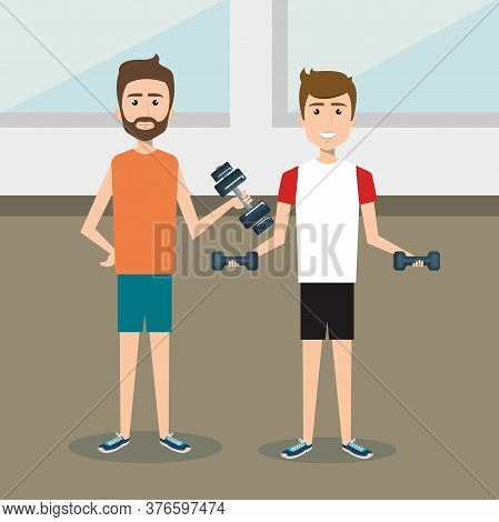 Athletic People Practicing Exercise Characters Vector Illustration Design