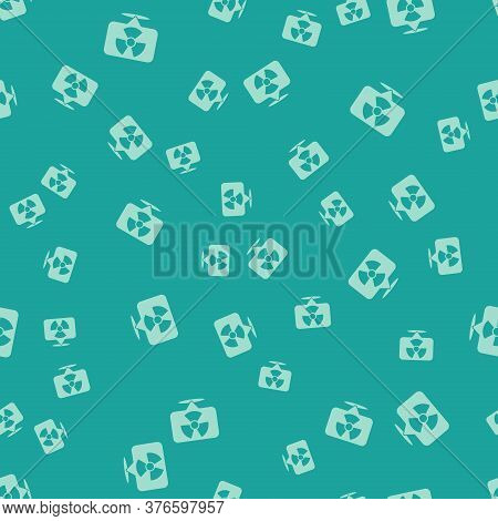 Green Radioactive In Location Icon Isolated Seamless Pattern On Green Background. Radioactive Toxic