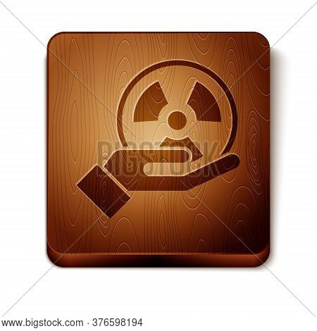 Brown Radioactive In Hand Icon Isolated On White Background. Radioactive Toxic Symbol. Radiation Haz