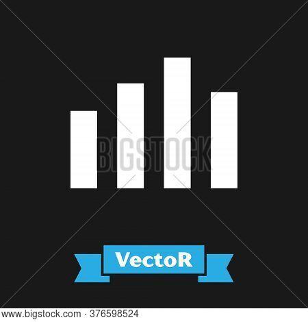 White Music Equalizer Icon Isolated On Black Background. Sound Wave. Audio Digital Equalizer Technol