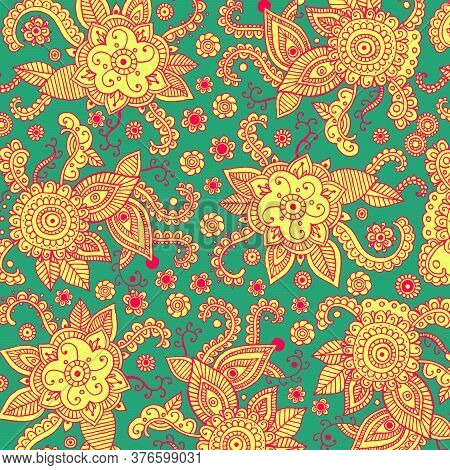 Boho Mehndi Ornament On Green Backdrop. Henna Mehndi Psychedelic Tribal Patten Background For Print,