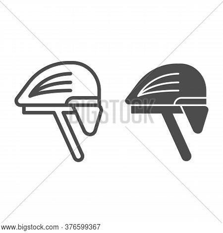 Cyclist Helmet Line And Solid Icon, Cyclist Equipment Concept, Bike Protective Hat Sign On White Bac