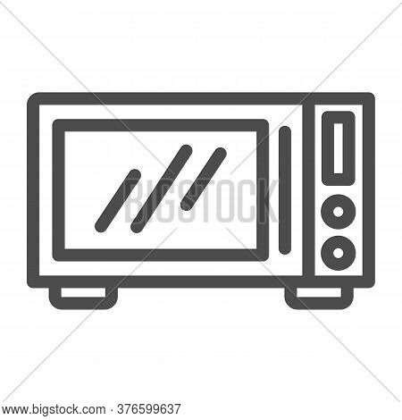 Microwave Line Icon, Kitchen Equipment Concept, Microwave Oven Sign On White Background, Kitchen Ele
